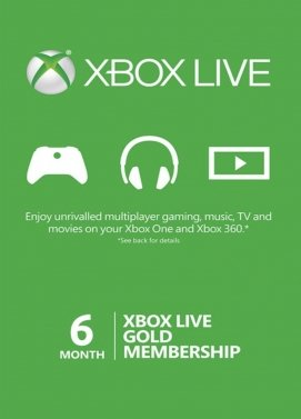 Xbox Live 6 month Gold Subscription Card [Xbox 360/Xbox One]