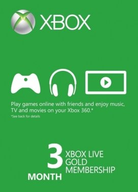 Acheter Microsoft Xbox Live 3 month Gold Subscription Card [Xbox 360/Xbox One]