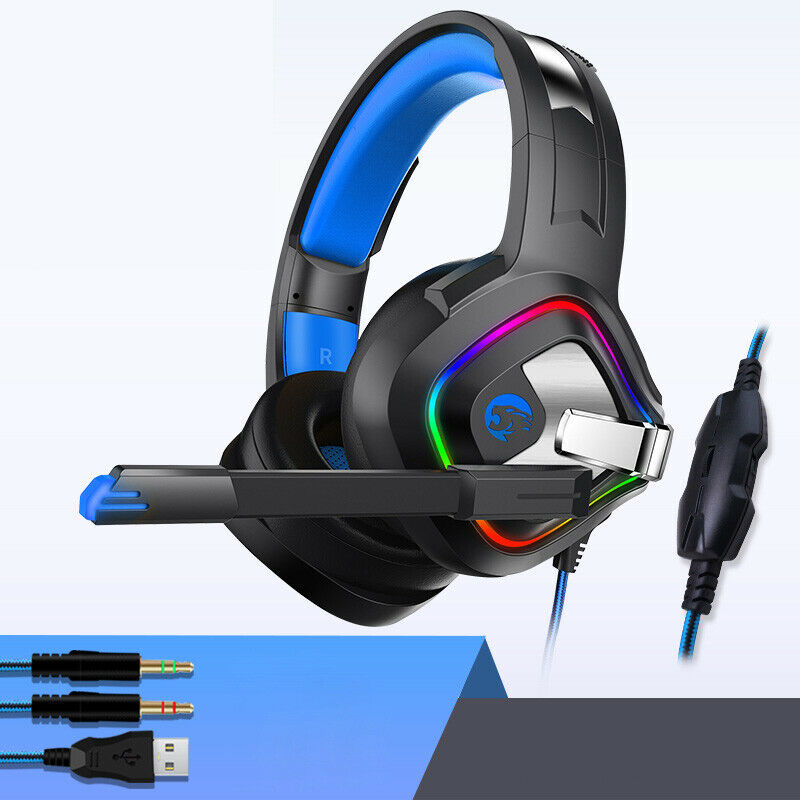 A66 3.5mm Gaming Headset Surround Stereo headphone with Mic RGB LED (Black Blue)