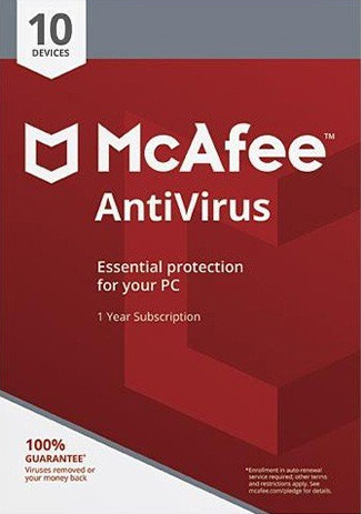 McAfee Antivirus - 10 PC / 1 Year