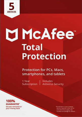 Buy McAfee Total Protection - 5 Devices - 1 Year