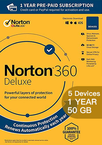 NORTON 360 DELUXE - 5 Devices - 1 YEAR (50GB CLOUD STORAGE)