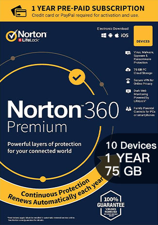 NORTON 360 PREMIUM - 10 Devices - 1 YEAR (75GB CLOUD STORAGE)