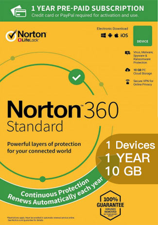 NORTON 360 STANDARD - 1 Device- 1 YEAR (10GB CLOUD STORAGE)