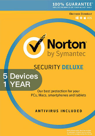 NORTON SECURITY DELUXE 3 - 5 Devices - 1 YEAR