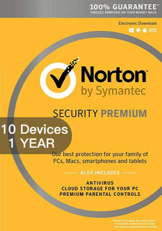 NORTON SECURITY PREMIUM 3 - 10 Devices - 1 YEAR