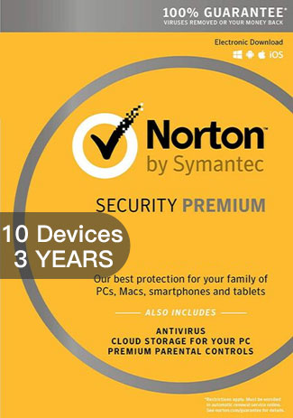 NORTON SECURITY PREMIUM 3 - 10 Devices - 3 YEAR
