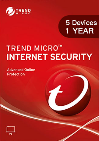 TREND MICRO INTERNET SECURITY - 5 Devices - 1 YEAR