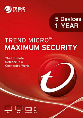 TREND MICRO MAXIMUM SECURITY - 5 Devices - 1 YEAR