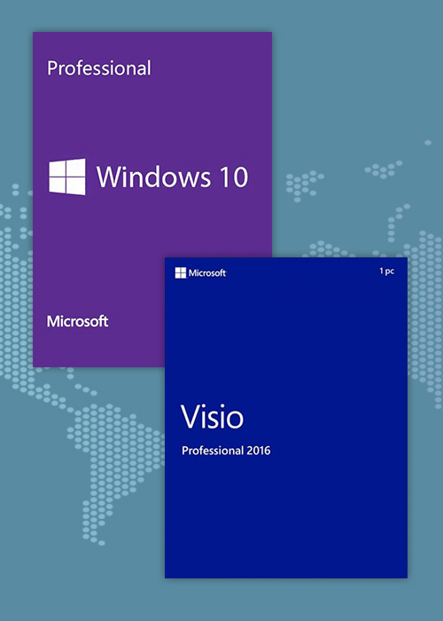 Buy Windows10 Pro OEM + Visio Professional 2016 CD Keys Pack